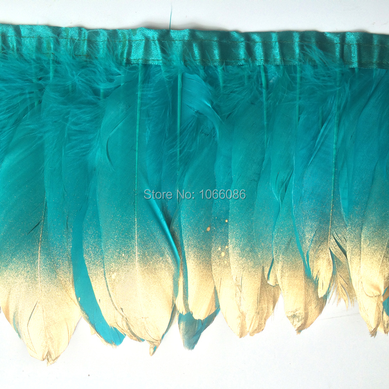 6yard/lot gold paint spray goose feather fringes 15-20cm turquoise with gold tips goose feather trims 2y/pc
