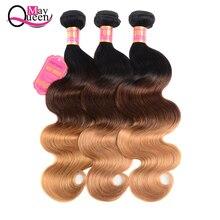 May Queen Ombre Three Tone Human Hair Bundles 3/4 Pcs Non Remy Brazilian Body Wave Bundles Deals 100% Human Hair Weave Bundles