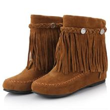 35-43 bohemian gypsy boho ethnic national women tassel fringe suede leather ankle boots woman girl comfort flat shoes booties