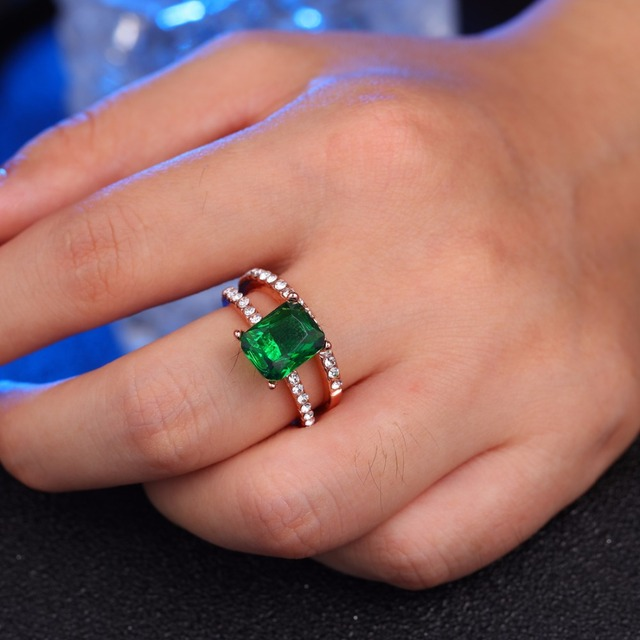 Which Hand Wedding Ring Female.Us 1 94 40 Off Women S Wedding Ring Set Shiny Perfect Square Cut Zircon Stone Ring Female Party Jewelry 2 Color Green And White In Rings From