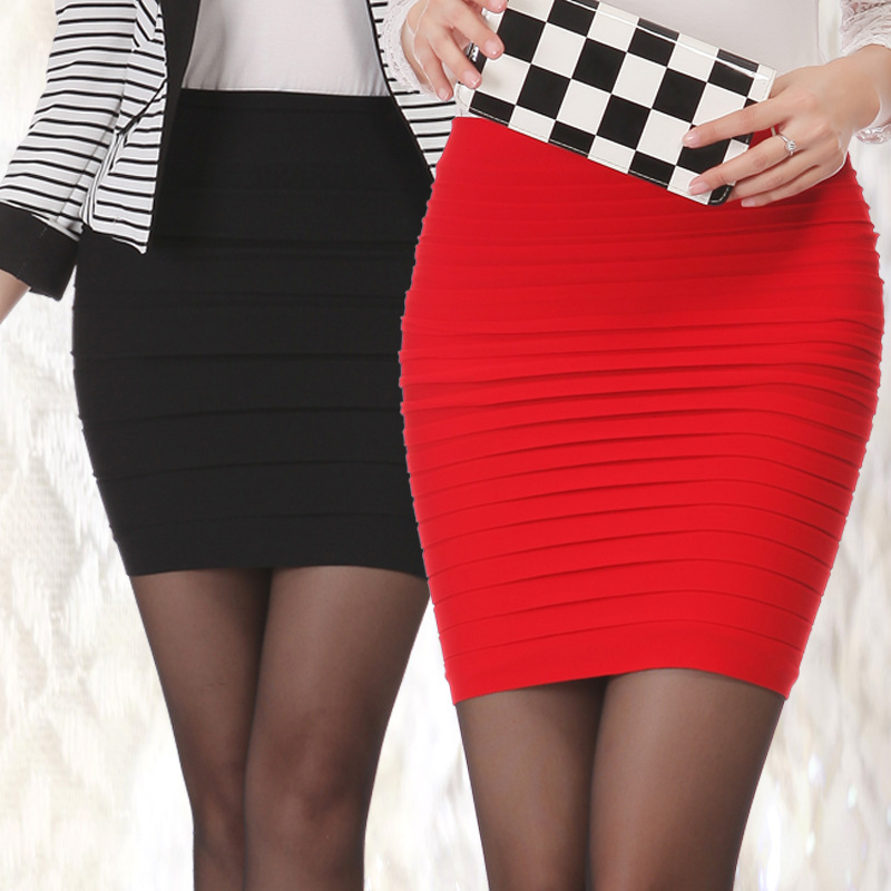 spring Women Sexy Pencil Candy Color Elastic High Summer Striped Package Hip Skirt Pleated Skirt female Short Skirt Slim DL2093