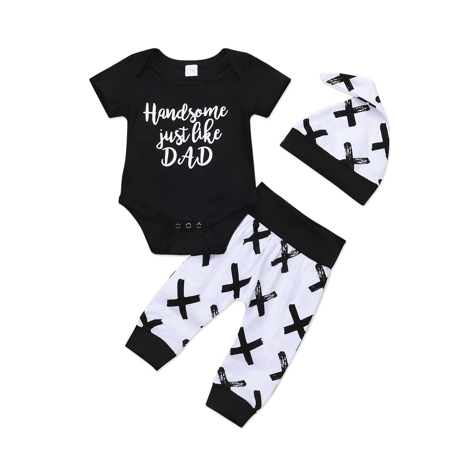Handsome Just Like Dad 3Pcs Newborn Baby Boys Letters Cross Cotton Top Romper Pants Leggings Hat