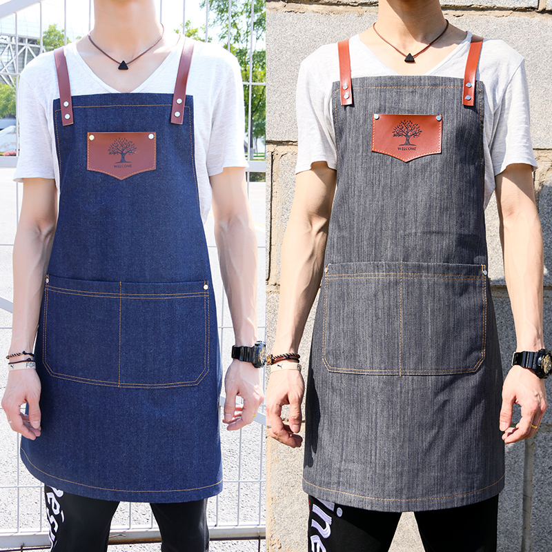 Image 2 - New fashion denim aprons Cortex apron for the kitchen unisex Work delantal bartender pinafore bib pocket gift for man smocks-in Aprons from Home & Garden