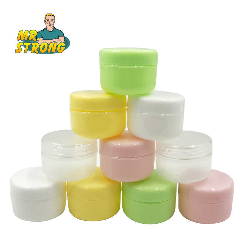 10 PCS Botol Isi Ulang Plastik Makeup Kosong Jar Pot Travel Wajah Cream/Lotion/Kosmetik Kontainer 5 Warna 10g