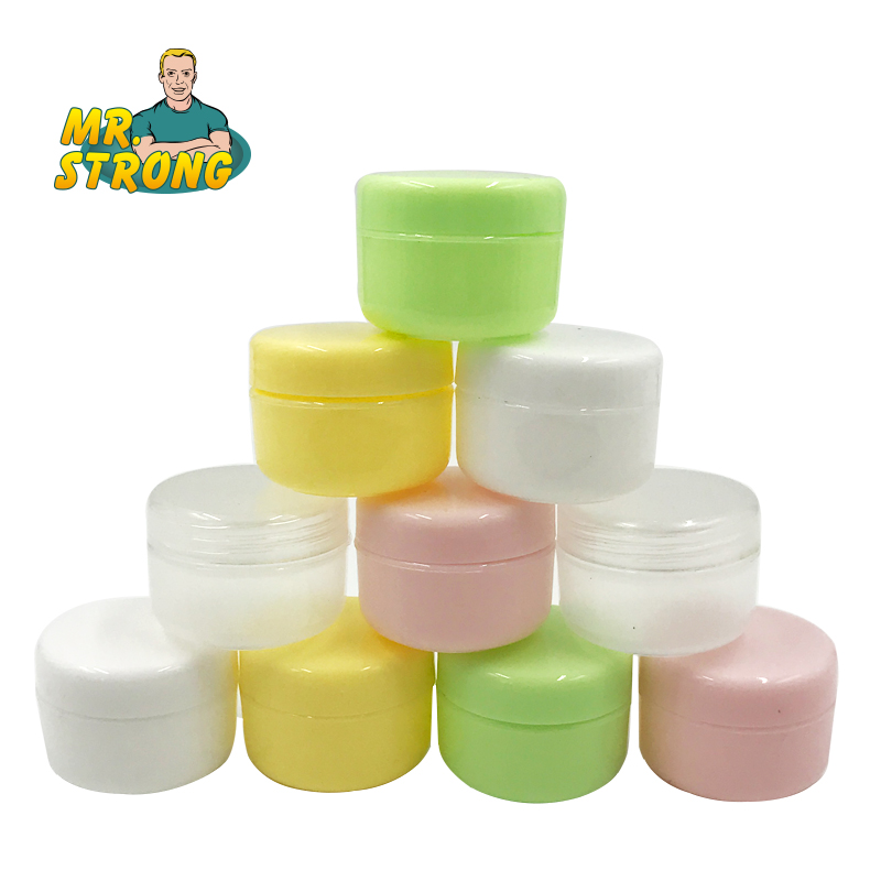 10PCS Refillable Bottles Plastic Empty Makeup Jar Pot Travel Face Cream/Lotion/Cosmetic Container 5 Colors 10g