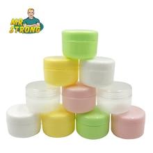 Botellas rellenables de plástico, tarro de maquillaje vacío, crema facial de viaje/loción/contenedor cosmético, 5 colores, 10 Uds.