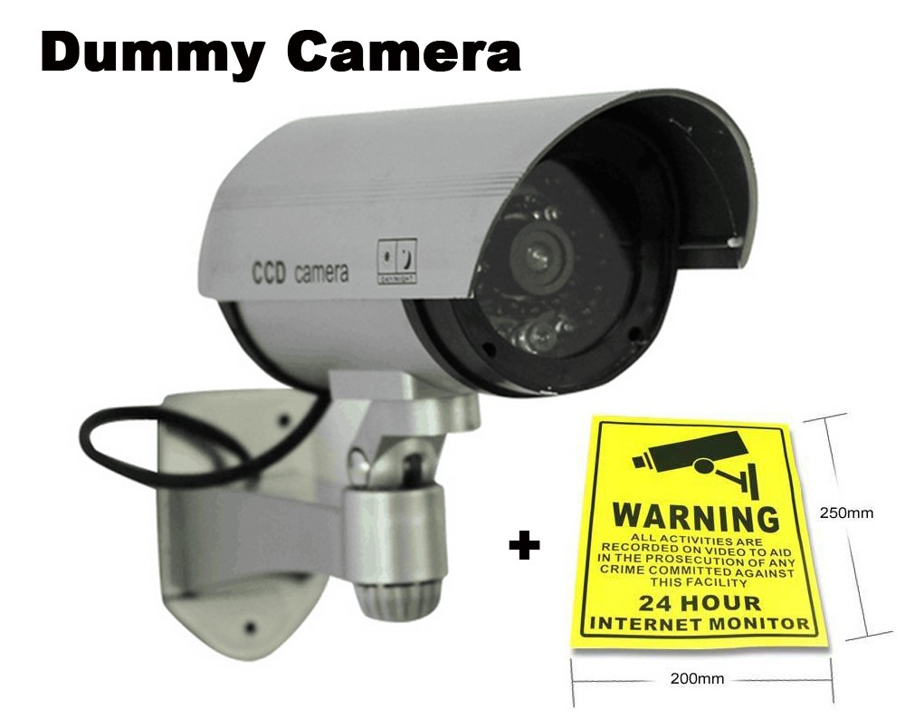 Fake camera battery powered Indoor Outoodr Blinking LED Light Dummy Surveillance Security Camara with CCTV Warning Label Sticker fake dummy security camera cctv surveillance system with realistic simulated leds outdoor indoor for home cam warning sticker