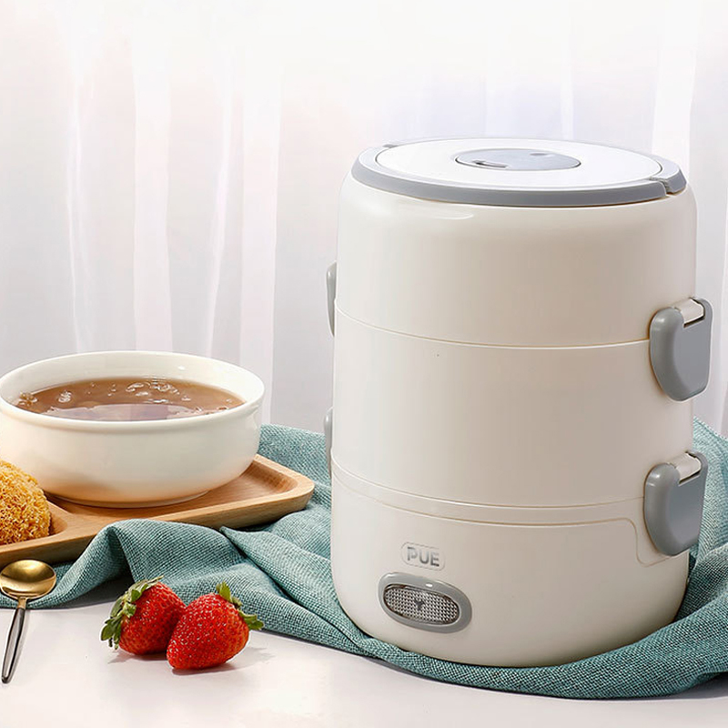 220V Multifunction Electric Lunch Box Portable Steam Rice Cooker Ceramic Liner Food Containers Insulation Heating Multicooker 2L