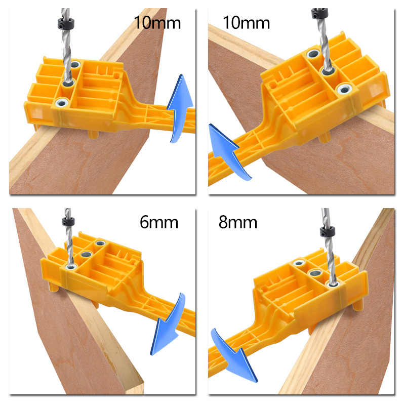 木工ダボジグ 6 8 10 ミリメートルの木材のドリルハンドヘルドポケット穴ジグ Doweling 穴は見たドリルガイドツールのための大工