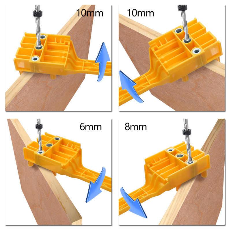ไม้ Dowel Jig 6 8 10 มม.เจาะไม้กระเป๋า Jig Doweling เจาะเครื่องมือคู่มือสำหรับช่างไม้