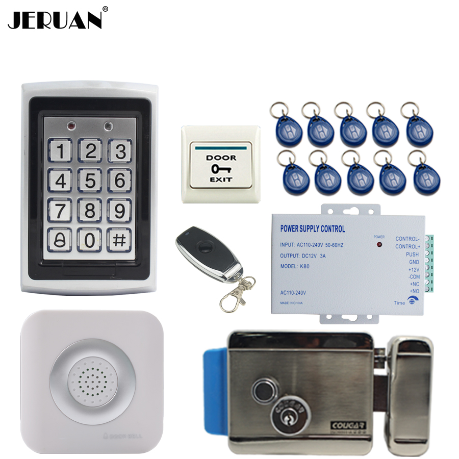 JERUAN Metal Waterproof Backlight button RFID Password Access Controller Door control system kit +Doorbell+E-lock Free shipping jeruan metal waterproof rfid password touch access controller system kit speaker doorbell remote control in stock free shipping