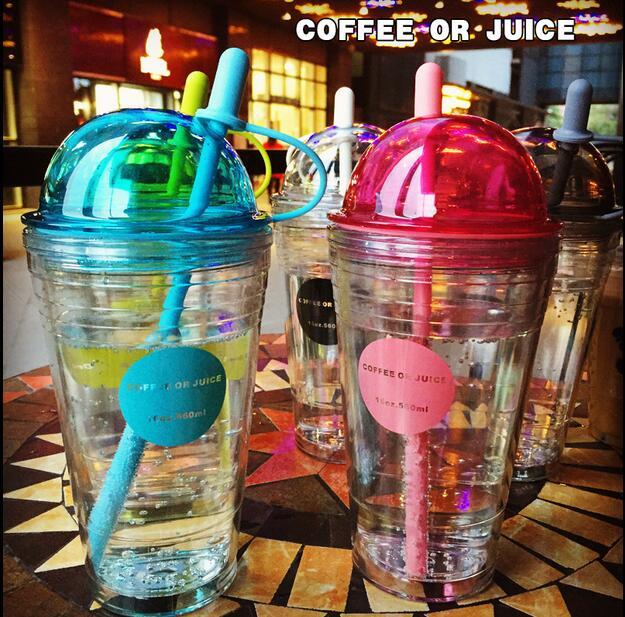 560ml Trend <font><b>straw</b></font> <font><b>plastic</b></font> <font><b>cup</b></font> coffee <font><b>double</b></font> layer tea <font><b>cup</b></font> child drink <font><b>fruit</b></font> <font><b>juice</b></font> readily <font><b>cup</b></font>