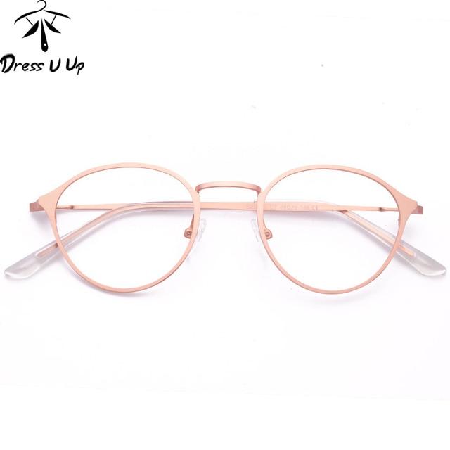 2ef6a72fb9 Dressuup retro Gafas graduadas mujer marca diseñador vintage ronda de oro  rosa aleación gafas mujer oculos