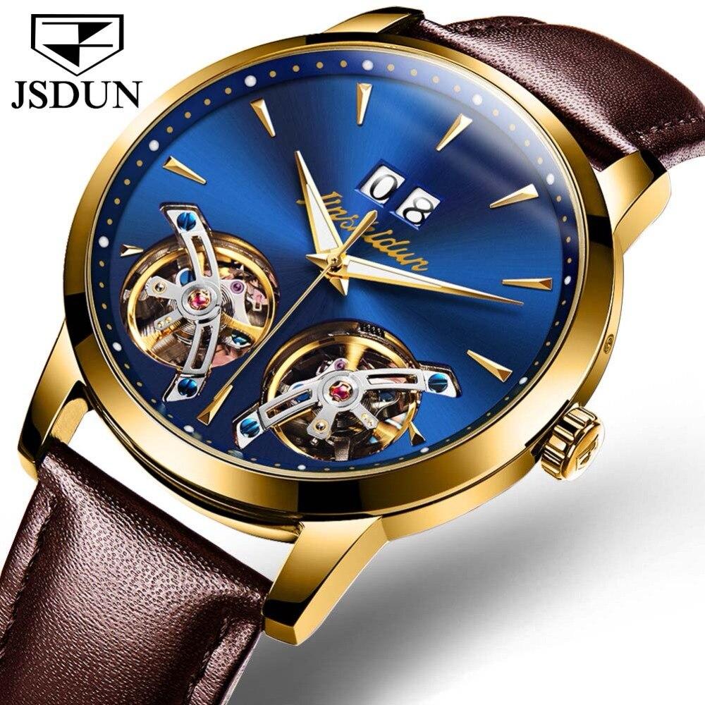Mechanical Men Watches JSDUN Luxury Brand Skeleton Double Tourbillon Sapphire Waterproof Watch Men Clock Male reloj