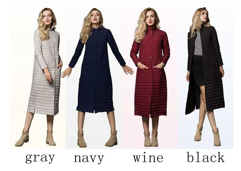 Новая брендовая зимняя Длинная женская пуховая куртка ультра легкая пуховая куртка женская однобортная ветровка теплые пальто