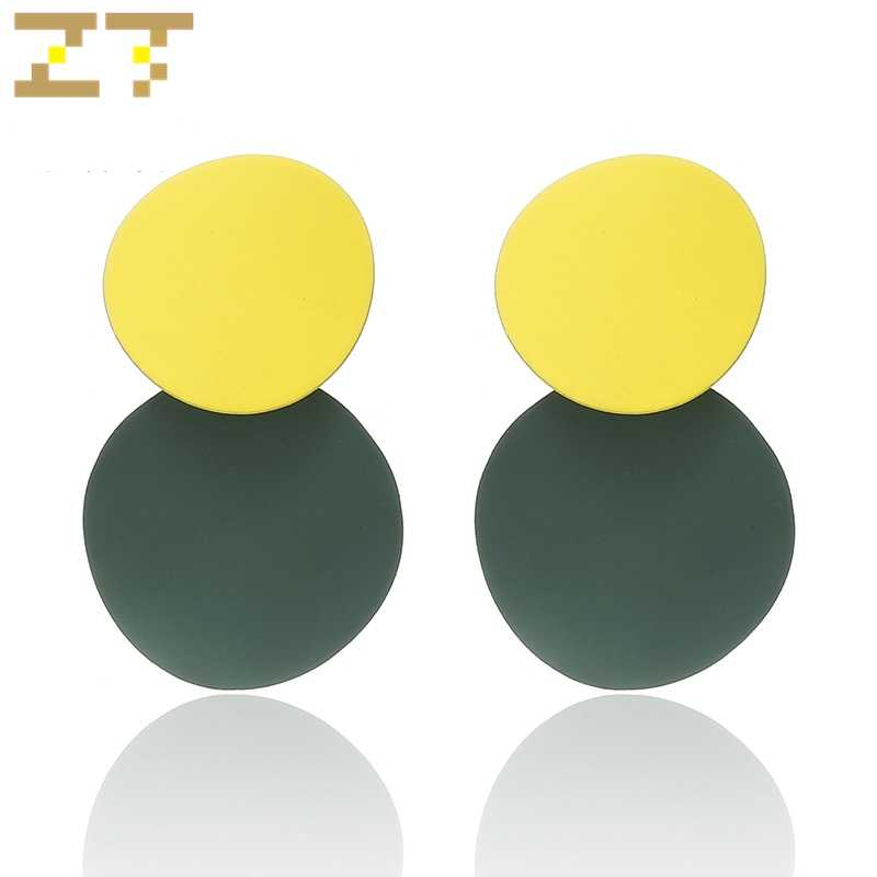 Trendy Statement Candy Color Yellow Green Dangle Drop Earrings Geometric Round Earrings for Women Jewelry Brinco Aretes De Mujer