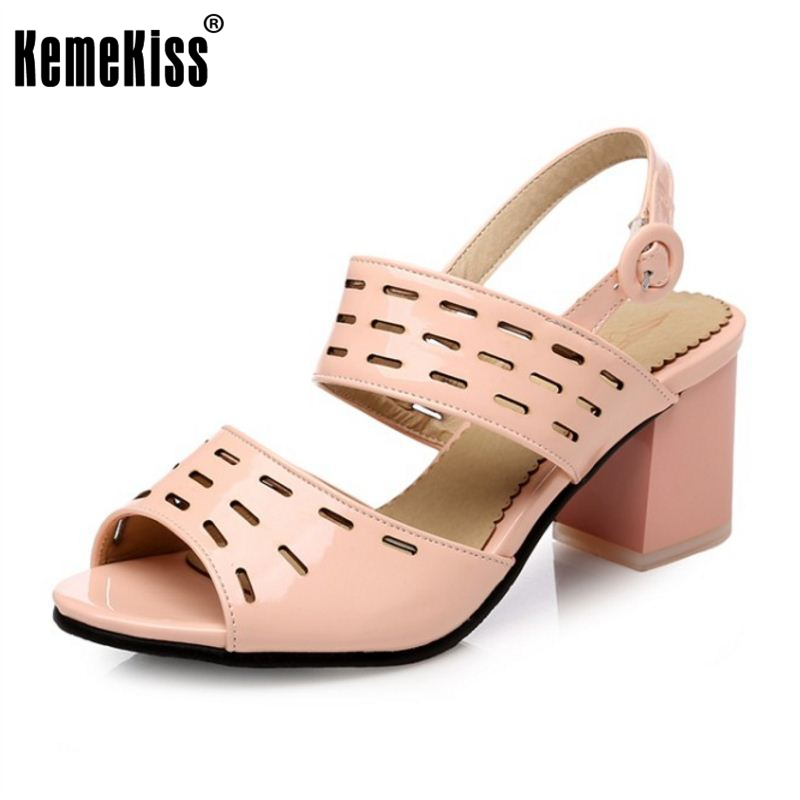 KemeKiss 4 Colors Size 31-45 Sexy Women Summer Vacation Shoes Women Ankle Strap Hallow Out Thick Heel Sandals Peep Toe Sandal 2018 summer new arrived strap design wedges women sandals peep toe comfort mid heel sexy lady sandal fashion student casual shoe