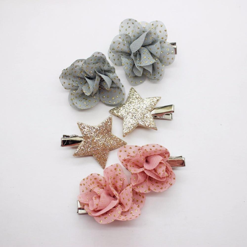 6 pcs Fashionable chiffon glitter flowers hairpins gold shins