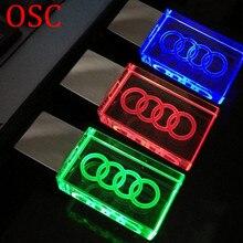 Crystal glass LED Light A udi Car Logo usb flash drive pendrive8gb 16gb 32gb 64gb usb memory pen drive stick USB Flash Pen Drive