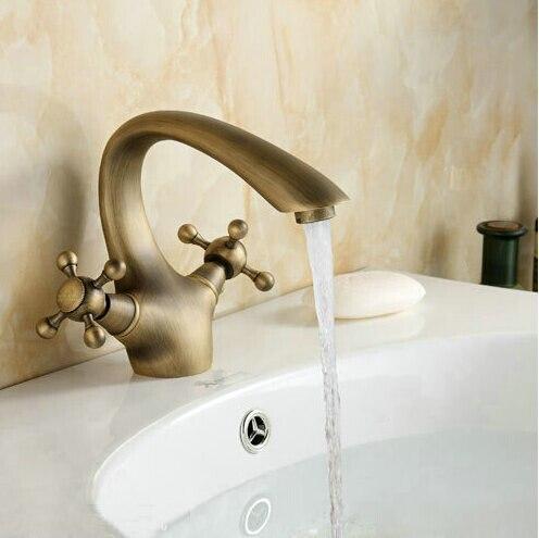 Wholesale High Quality Bathroom Basin Antique Brass Faucets Double Handle Faucet Crane Mixer Tap AF1052
