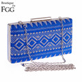 6 Colors Embroidery Women Blue Plaid Golden Metal Evening Bags Handbag Hardcase Prom Chains Shoulder Box Clutch Bag