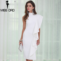 Missord 2017 Sexy Women O Neck Off Shoulder Fold Solid Color Split Personality Party Dress FT8572