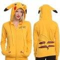 Kawaii Pikachu Mujeres camisetas de los Hoodies Lindos de la Historieta Floja Sudadera Moleton Sudaderas Con Capucha de Manga Larga Fleece Zip Up Casual Feminina