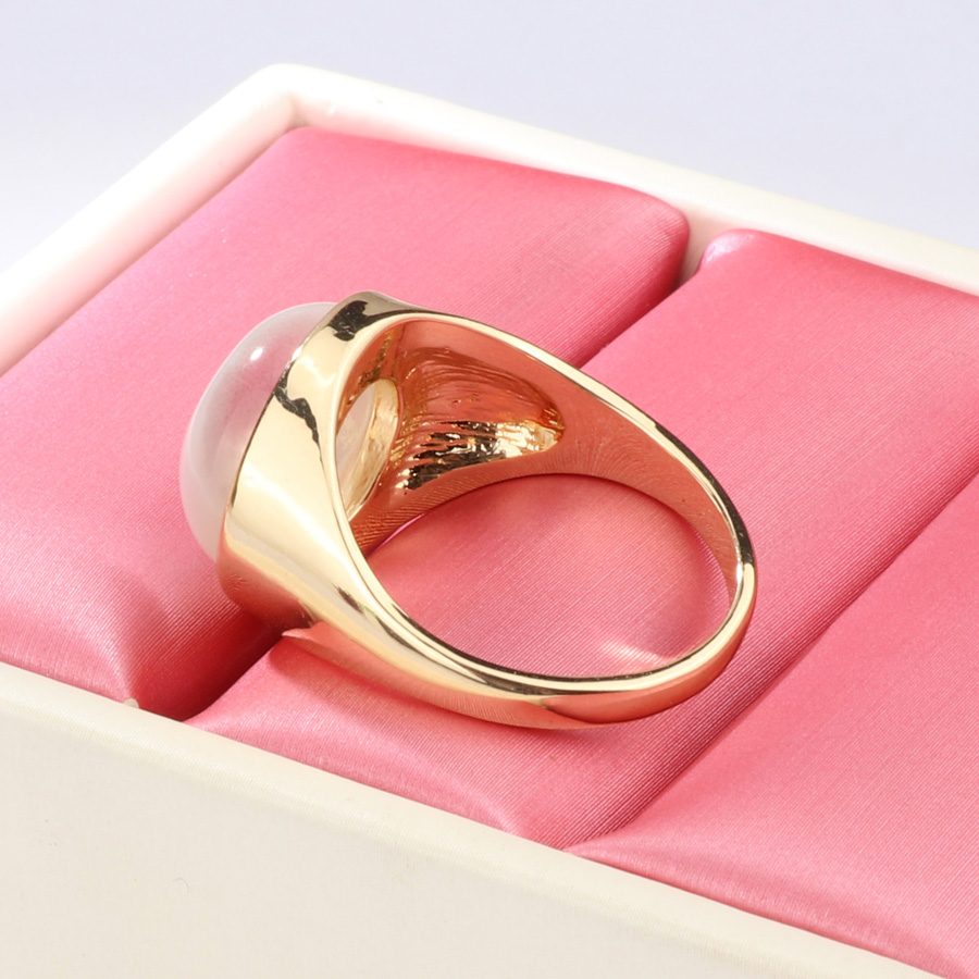 2018 Fashion Round White Opal Stone Ring Gold Color Engagement ...