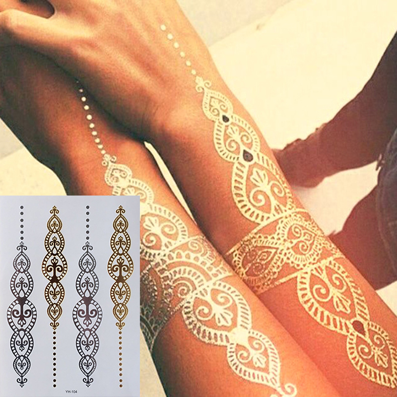 Body Art Painting Tattoo Stickers Glitter Metal Gold Silver Temporary Flash Tattoo Disposable Indians Tattoos