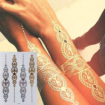 Body Art Painting Tattoo Stickers Glitter Metal Gold Silver Temporary Flash Tattoo Disposable Indians Tattoos набор fluorescent glitter tattoo 8