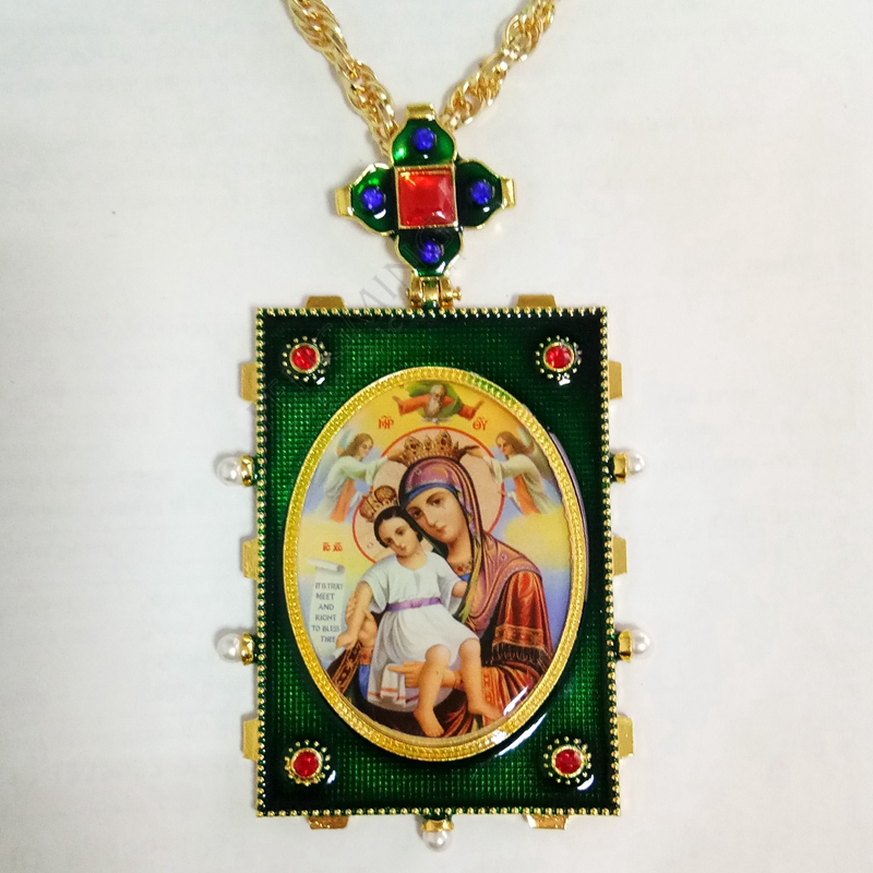 New High quality antique orthodox pectoral cross icon of Christ and Holy Virgin Mary decorated with