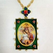 Высококачественный античный ортодоксальный крест икона Христос и Святая Дева Мария, украшенный цирконием Стразы