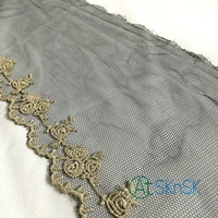 100 Yards Lot 16CM Wide Gold Trim Floral Embroidery Black Color Mesh Lace Fabric For Fashion