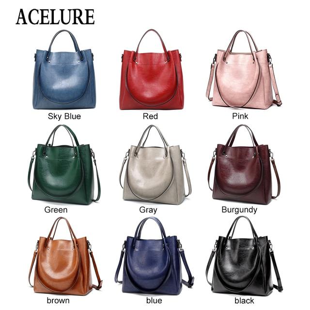ACELURE Casual Large Capacity Women Tote Shoulder Bag PU Leather Ladies Bucket Handbag Messenger Bag Soft Shopping Crossbody Bag 2