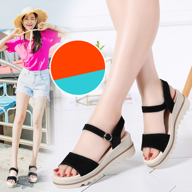 TKN 2019 Summer Women Platform Sandals Shoes   Leather     Suede   Wedge Sandals Ladies Sandalias Shoes Gladiator Sandals Women 575