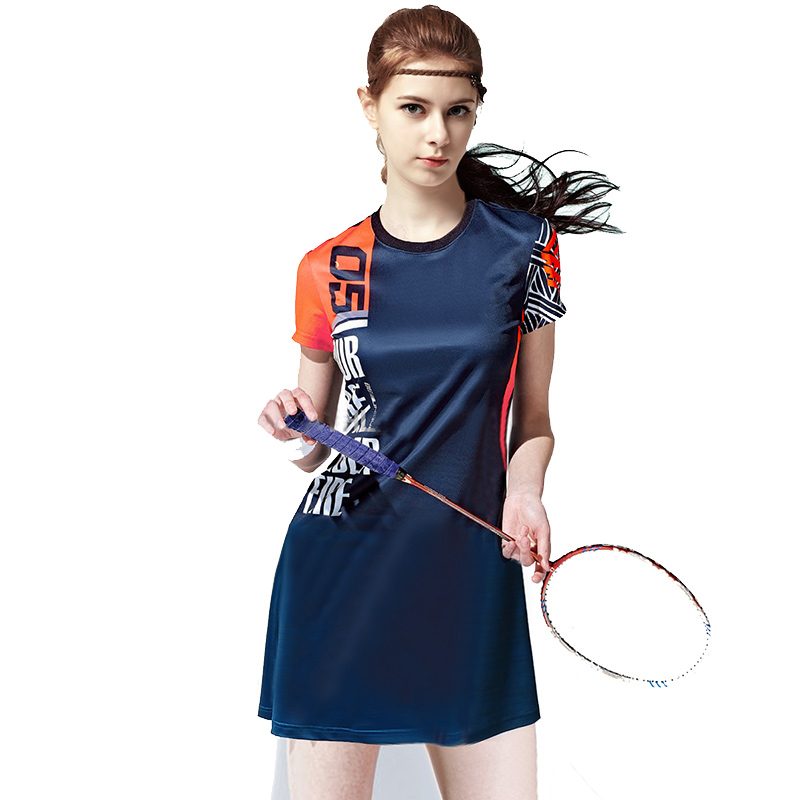 Badminton Suit Short-sleeved Dress Girl Self-body Fast Drying New Breathable Elastic Fabric Competition Uniform new children s tennis badminton dress girls breathable quick drying summer tennis suit sports dress with short pants