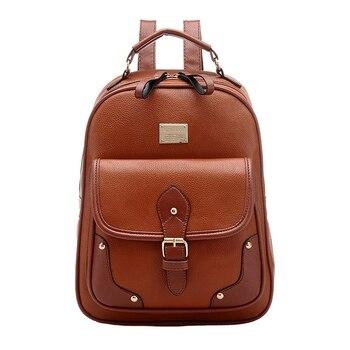 2fbf625dce4a TFTP Винтаж кожаный рюкзак через плечо школа сумка рюкзак коричневый ...
