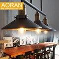 Sótão do vintage Lâmpada Da Cozinha Da Lâmpada luzes pingente Polia de Ferro Decoração de Casa Com E27 Edison lâmpada preto pintado polia luz pingente
