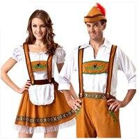 Mens German Bavarian Oktoberfest Ladies Beer Maid Fancy Dress Costume Lederhosen Halloween Costumes Men Adult