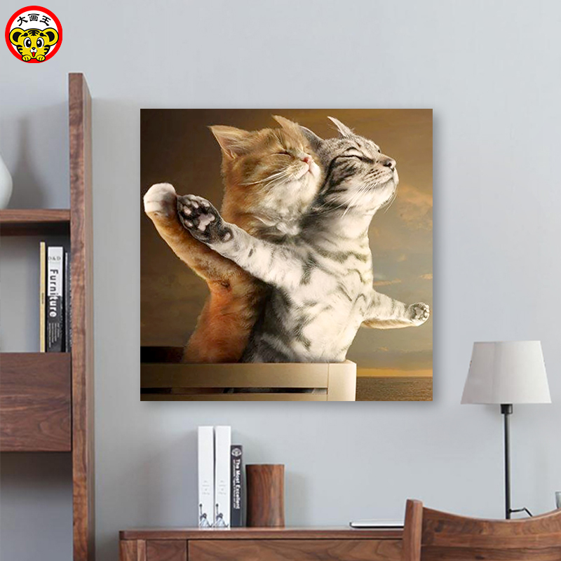 Painting By Numbers Art Paint By Number Diy   Animal Cute Titanic Cat Background Wall Hand-painted Filling Decorative Decorative