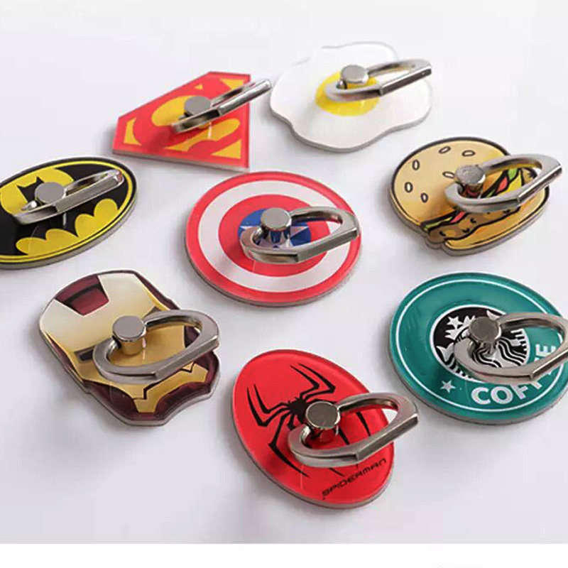 MARVEL Finger Ring Holder For IPhone Huawei Xiaomi Desktop Stand 360 Cute Batman Ironman Animal Mobile Phone Holder Socket