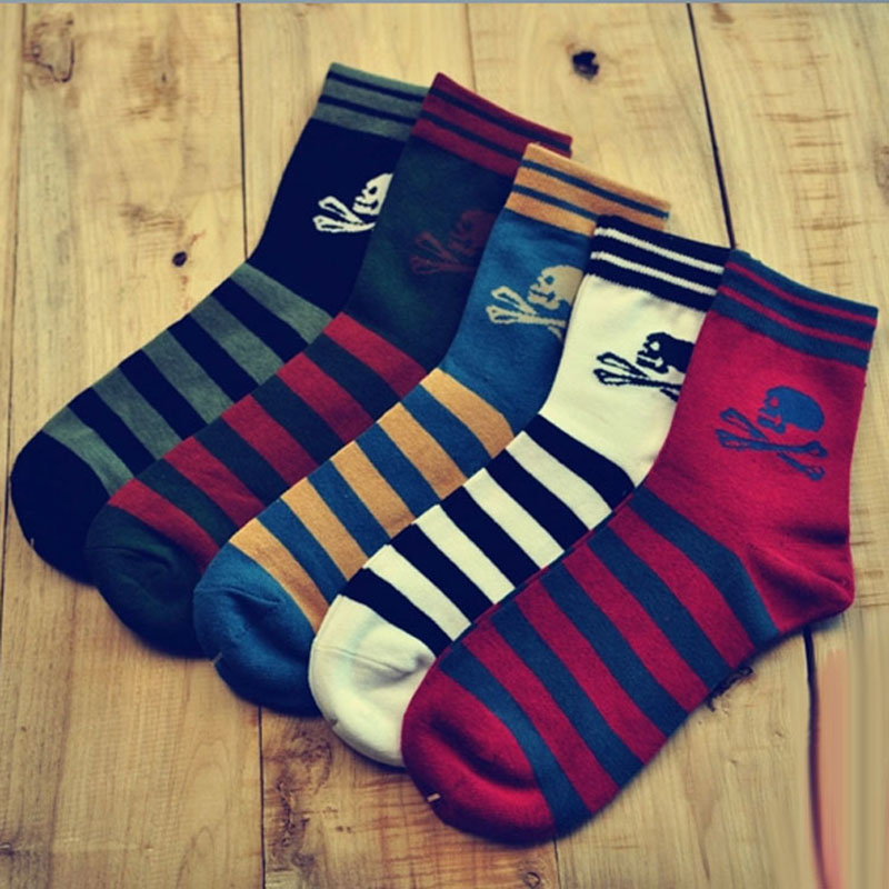 10PCS=5Pairs/lot High Quality Harajuku Skull Striped Socks 5Colors Brand Men Causal Cottorn Socks Breathable Comfortable Wearing