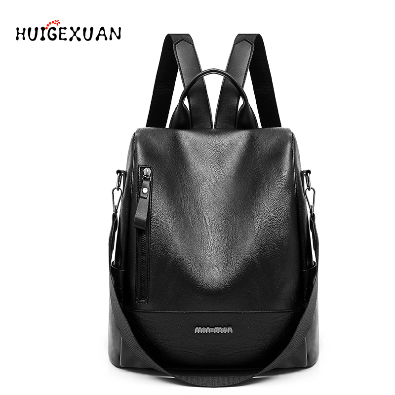 2018 New Anti theft Backpack Casual PU Leather Women