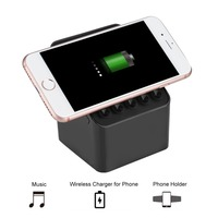 3 in 1 Portable TWS Bluetooth Speaker with Magnetic Phone Holder and Qi Charging for iPhone/Samsung
