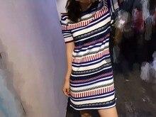 Summer women's color block stripe brief elegant knitted one-piece dress