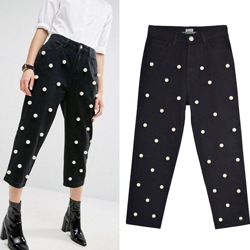 Mode Perle Denim Jeans Femmes Noir Droite Veau Longueur Lâche Large Pattes Pantalon 2018 Automne Femme Pantalon Taille Haute Cowboy