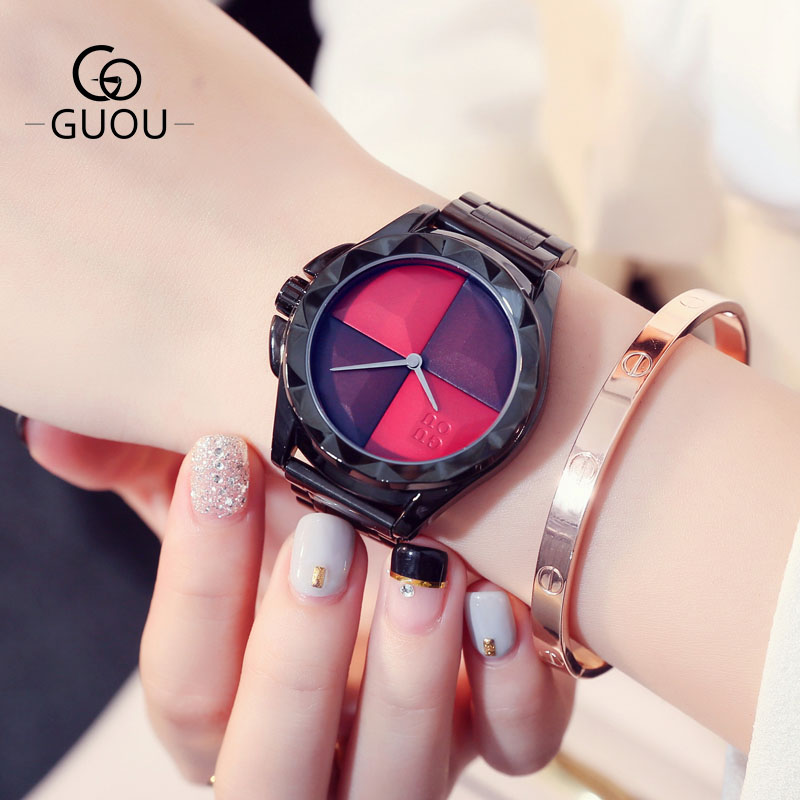 GUOU Brand Ladies Creative Women Watches Black Steel Band Quartz Wristwatches Women Dress Clock Fashion Watch Saat Montre Femme