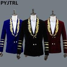 PYJTRL גברים של צעיף צווארון מלכותי כחול זמש רקמת Loose חליפת מעיל שלב הצג זינגר כפול חזה גברים בלייזר עיצובים