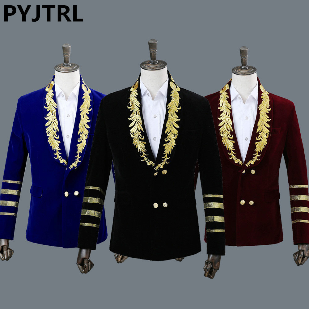 PYJTRL Men's Shawl Collar Royal Blue Suede Embroidery Loose Suit Jacket Stage Show Singer Double-breasted Men Blazer Designs
