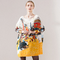 New 2016 Autumn Winter Casual Long Christmas Sweater Dress Batwing Sleeve Printed Coat Women S Sweater
